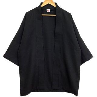 [Happi.Tokyo]綾織(あやおり)はっぴ(法被)-無地-黒-Black-