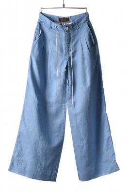 Cotton/Linen denim 2-tuck wide pants
