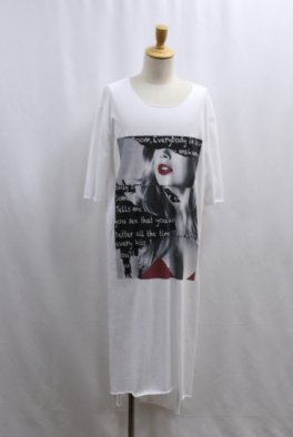 Lady Printed Cut Off Super Long Tee