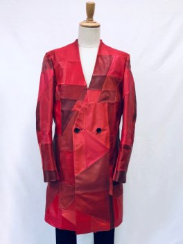 <img class='new_mark_img1' src='https://img.shop-pro.jp/img/new/icons1.gif' style='border:none;display:inline;margin:0px;padding:0px;width:auto;' />Patchwork Leather No collar Double Coat