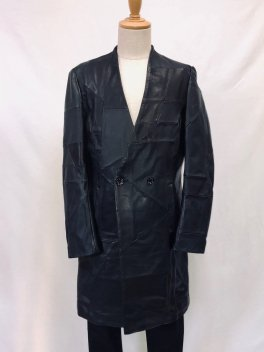 <img class='new_mark_img1' src='//img.shop-pro.jp/img/new/icons1.gif' style='border:none;display:inline;margin:0px;padding:0px;width:auto;' />Patchwork Leather No collar Double Coat