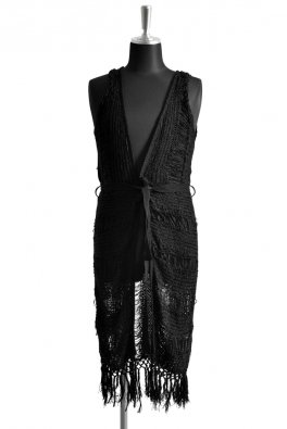 Loop yarn Border Fringe Long Gilet