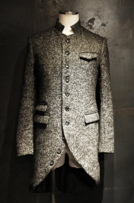 Woolly Herringbone Tweed Round-Tail Long Jacket
