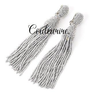 タッセルイヤリング シルバー ロング ビーズ ブライダルアクセサリー  / Silver- Long -