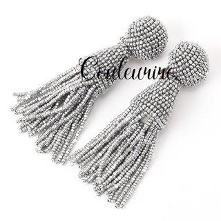 タッセルイヤリング シルバー ビーズブライダルアクセサリー Tassel Earrings | Silver - Short -