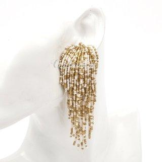 タッセルイヤリング ビーズブライダルアクセサリー ウォーターフォール | Water Fall Earrings | GOLD & Ivory