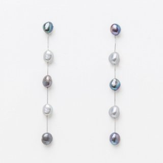 <img class='new_mark_img1' src='https://img.shop-pro.jp/img/new/icons14.gif' style='border:none;display:inline;margin:0px;padding:0px;width:auto;' />Gray 5 Drop Long Pearl Earring  グレーグラデーション ロングドロップパールピアス   ピアスタイプ