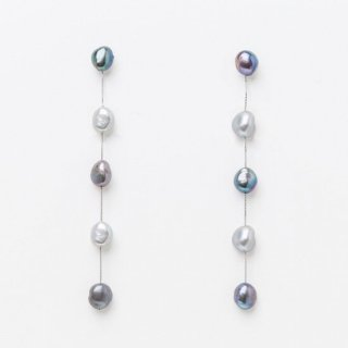 5ドロップロングパール <グレーグラデーション> ピアスタイプ | 5 Drop Long Pearl Earrings-Gray Gradaton Needle Type
