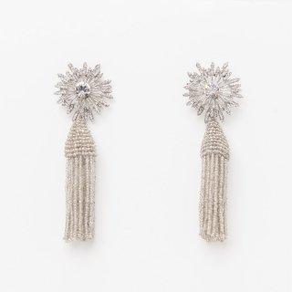 タッセルイヤリング ダリア ビーズ ブライダルアクセサリー ピアスタイプ Tassel Earrings Daria | - Short -