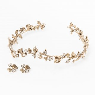Four Leaf Clover Head dress + Earring set |Antique Gold