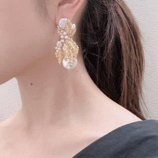 モネ ゴールド×パール ピアス | Monet Gold × Pearl Earrings