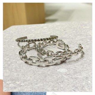 【即納】ダンクルチェーン バングルブレスレット<SILVER><Ssize/Lsize>|Dancle Chain Bancle Bracelet | 男女兼用フリーサイズ