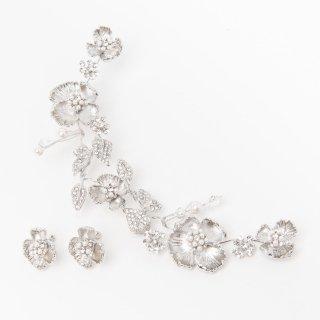 ブロッサムフラワーヘッドドレス +イヤリングセット<SILVER>/Blossom Flower Head dress + Earring set<SILVER>