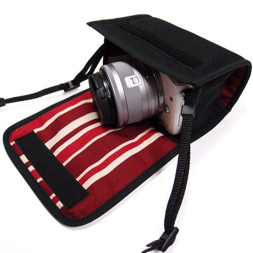 カメラケース ミラーレス キヤノン EOS M100ケース /EOS M10ケース(ブラック・ボルドーストライプ)