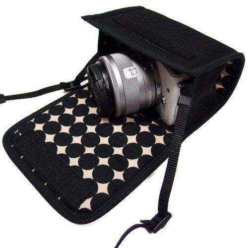 カメラケース ミラーレス キヤノン EOS M100ケース /EOS M10ケース(ブラック・マーブル)--カラビナ付