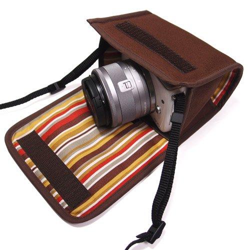 カメラケース ミラーレス キヤノン EOS M100ケース /EOS M10ケース(ココア)--カラビナ付