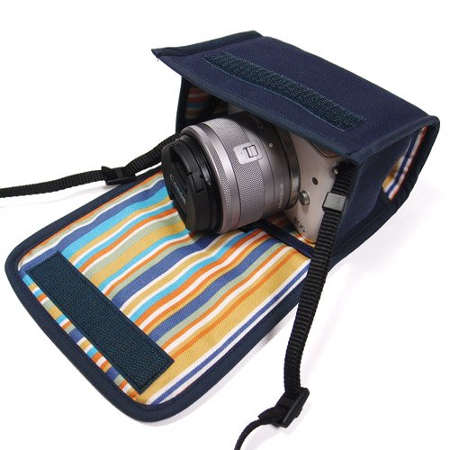 カメラケース ミラーレス キヤノン EOS M100ケース /EOS M10ケース(ネイビー・オアシス)--カラビナ付