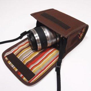 Nikon1 J5ケース- ダブルズームレンズ用(ココア)--カラビナ付
