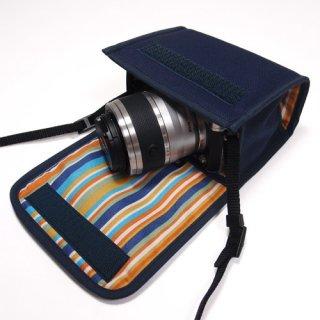 Nikon1 J5ケース- ダブルズームレンズ用(ネイビー)--カラビナ付