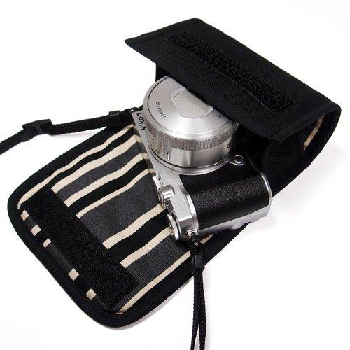 Nikon1 J5ケース- 標準ズームレンズ用(ブラック・カーボンストライプ)