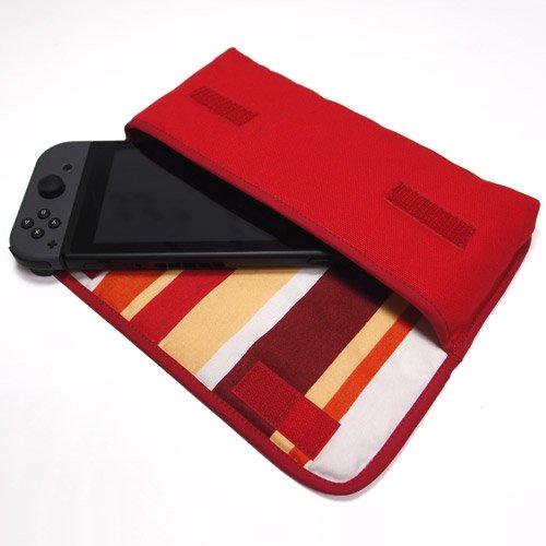 Nintendo Switchケース(レッド・オレンジストライプ)