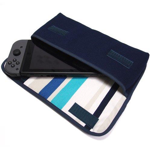 Nintendo Switchケース(ネイビー・ストライプ)