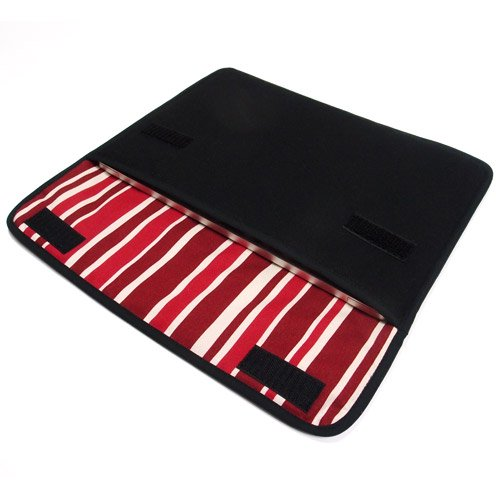 MacBookケース(12インチ):FILO(ブラック・ボルドーストライプ)