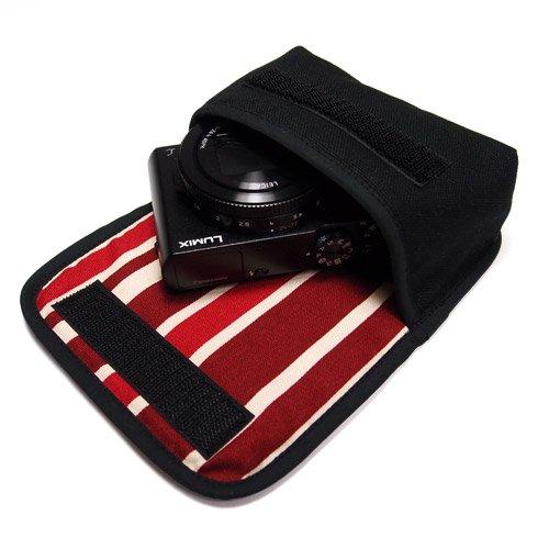 カメラケース デジカメ LUMIX LX9ケース(ブラック・ボルドーストライプ)