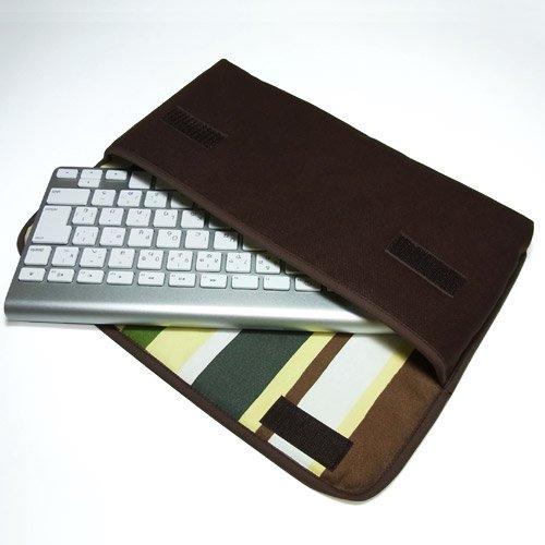 Apple ワイヤレスキーボードケース(ココア・カーキストライプ)