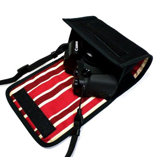 PowerShot G1X MarkIIIケース(ブラック・ボルドーストライプ) --カラビナ付