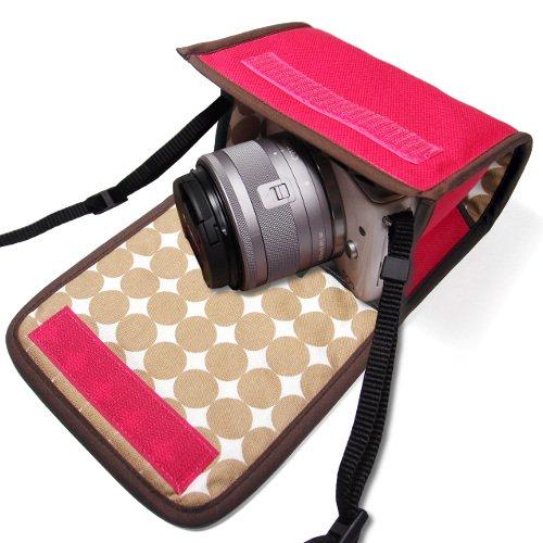 カメラケース ミラーレス キヤノン EOS M100ケース /EOS M10ケース(ピンク・ベージュドット)--カラビナ付