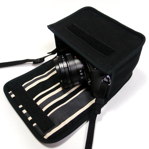 LUMIX GX7 Mark IIIケース(ブラック・カーボンストライプ)--単焦点ライカDGレンズ用--カラビナ付