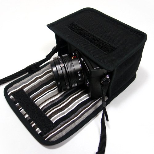 LUMIX GX7 Mark IIIケース(ブラック・アルバグレイ)--単焦点ライカDGレンズ用--カラビナ付
