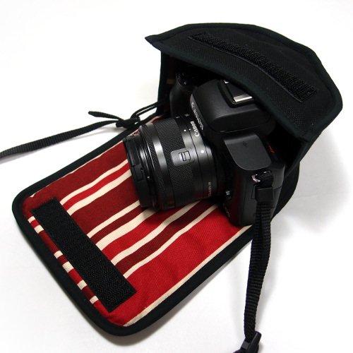 キヤノン EOS Kiss Mケース(ブラック・ボルドーストライプ) -EF-M15-45 IS STM レンズキット用