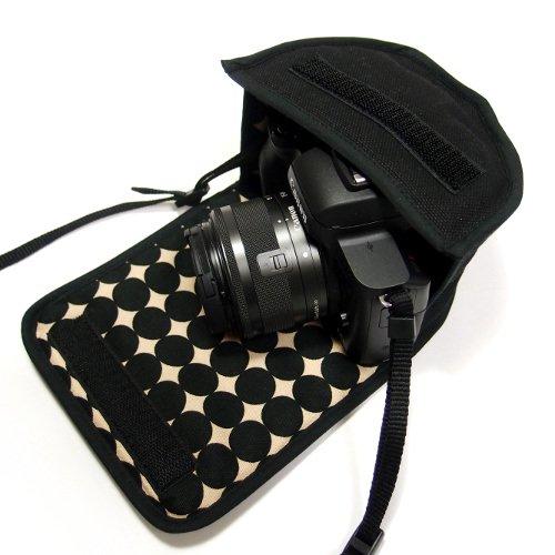 カメラケース ミラーレス キヤノンEOS Kiss Mケース(ブラック・マーブルドット) -EF-M15-45 IS STM レンズキット用