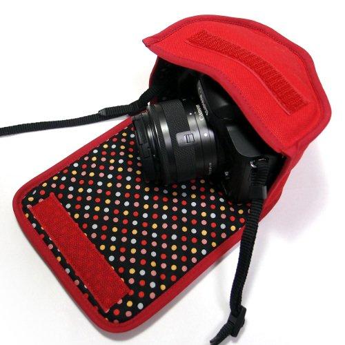 カメラケース ミラーレス キヤノンEOS Kiss Mケース(レッド・カラフルドット) -EF-M15-45 IS STM レンズキット用