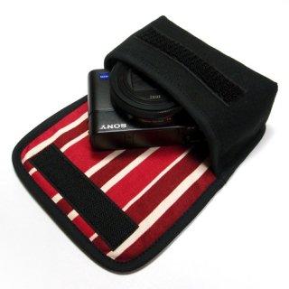 カメラケース デジカメ ソニーサイバーショット DSC-RX100M6ケース(ブラック・ボルドーストライプ)