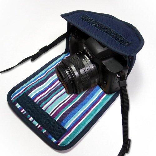 カメラケース ミラーレス キヤノンEOS Kiss Mケース(ネイビー・アズーリ) -EF-M15-45 IS STM レンズキット用