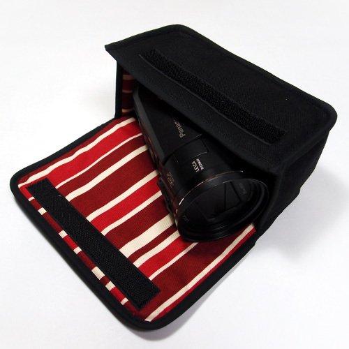 デジタルビデオカメラケース WX1Mケース/WZX1Mケース(ブラック・ボルドーストライプ)