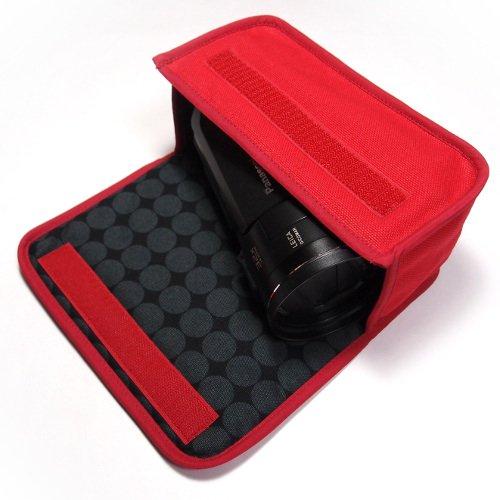 デジタルビデオカメラケース WX1Mケース/WZX1Mケース(レッド・ダークグレー)