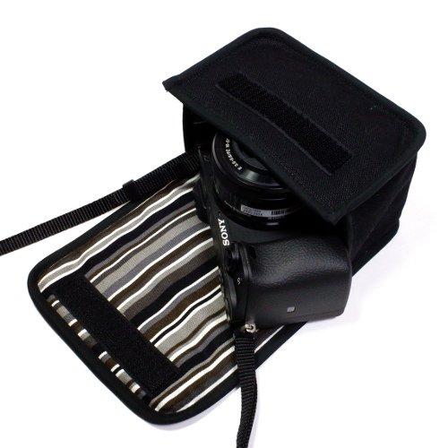 ソニーα6400ケース(ブラック・アルバグレイ)--パワーズームレンズキット用--カラビナ付