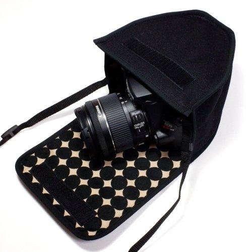キヤノンEOS Kiss X10ケース(ブラック・マーブルドット)--EF-S18-55 IS STM レンズ用