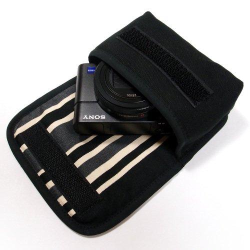 ソニーサイバーショット DSC-RX100M7ケース/RX100M6ケース(ブラック・カーボンストライプ)--ベルトループ付