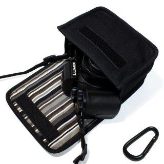 LUMIX G100ケース(ブラック・アルバグレイ)--カラビナ付