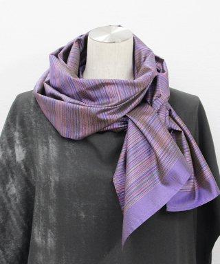 大島紬創作織り花色ストール(紫陽花)
