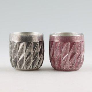 錫 ダイヤグラス黒・紫 2個セット イブシ加工 商品番号:94A-1-2/名入れ・マーク入れ 不可