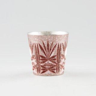 錫 切子グラス 赤 イブシ加工 120ml 商品番号:96/名入れ・マーク入れ 不可