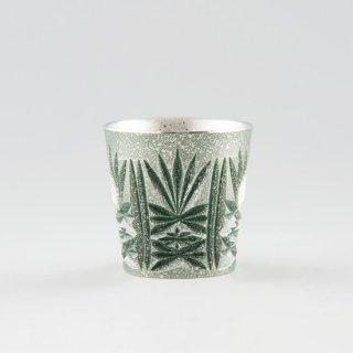 錫 切子グラス 緑 イブシ加工 120ml 商品番号:94/名入れ・マーク入れ 不可