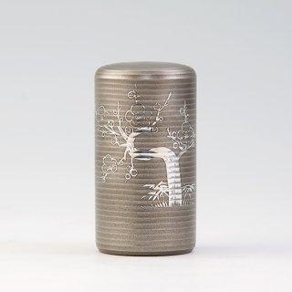 錫 茶筒 松竹梅 イブシ加工 130g 商品番号:20/名入れ・マーク入れ 不可