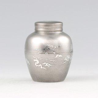 錫 茶壺 鶴 イブシ加工 120g 商品番号:5-2/名入れ・マーク入れ 不可